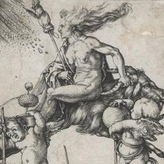 Albrecht Dürer Witch riding backwards on a goat 1501–1502 Engraving 11.7 x 7.2 cm Collection of The Museum of New Zealand Te Papa Tongarewa, Wellington