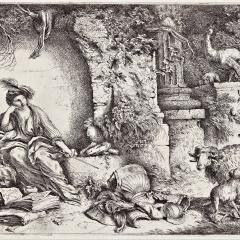 Giovanni Benedetto Castiglione Circe with companions of Ulysses changed into animals 1650–1651 Etching on paper, 21.8 x 31 cm (plate); 31 x 46.3 (sheet). V.B.F. Young Bequest Fund 2009. Collection of the Art Gallery of South Australia, Adelaide