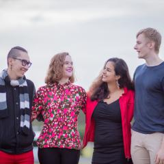 Bachelor of Music (Honours) students Timothy Clark, Pierce Leahy, Felicity Mohr and Prathana Thevar-Brink