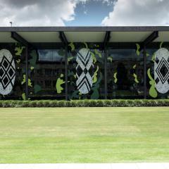 Jennifer Herd's artwork on the front windows of the Art Museum