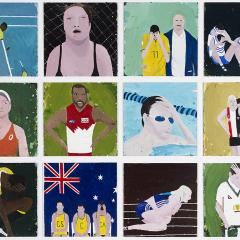 Richard Lewer The theatre of sports 2016  oil on canvas 12 parts, each 70 x 70 cm  Photography: Christian Capurro Courtesy of the artist, Sullivan+Strumpf, Sydney  and Hugo Michell Gallery, Adelaide  Collection of Basil Sellers AM